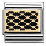 Nomination Charm Composable Classic Lace and Cashmere Plot Grid Black Steel