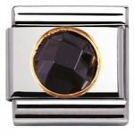 Nomination Charm Composable Classic Links Black Round Cubic Zirconia Steel