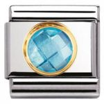 Nomination Charm Composable Classic Links Light Blue Round Cubic Zirconia Steel