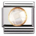 Nomination Charm Composable Classic Links White Round Cubic Zirconia Steel