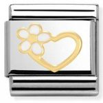 Nomination Charm Composable Classic Love 1 Heart Flower Steel