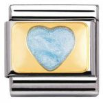 Nomination Charm Composable Classic Love 1 Light Blue Glitter Heart Steel