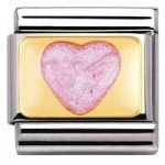Nomination Charm Composable Classic Love 1 Pink Glitter Heart Steel