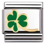 Nomination Charm Composable Classic Nature Clover with Stem Steel