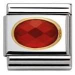 Nomination Charm Composable Classic Oval Hard Stones Faceted Red Agath Steel