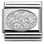 Nomination Charm Composable Classic Oval Pave White Cubic Zirconia Steel