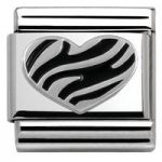 Nomination Charm Composable Classic Oxidized Symbols Striped Heart Steel