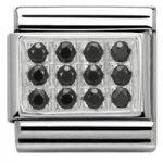 Nomination Charm Composable Classic Pave Black Cubic Zirconia Steel
