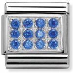 Nomination Charm Composable Classic Pave Blue Cubic Zirconia Steel
