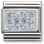 Nomination Charm Composable Classic Pave Light Blue Cubic Zirconia Steel