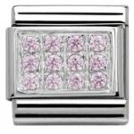 Nomination Charm Composable Classic Pave Pink Cubic Zirconia Steel