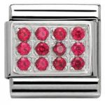 Nomination Charm Composable Classic Pave Red Cubic Zirconia Steel
