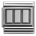 Nomination Charm Composable Classic Plates Oxidized Plate 3 Rectangles Steel