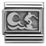 Nomination Charm Composable Classic Plates Oxidized Surfer with Wave Steel