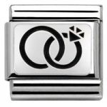 Nomination Charm Composable Classic Plates Oxidized Wedding Rings Steel