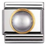 Nomination Charm Composable Classic Round Stones Grey Pearl Steel