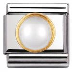 Nomination Charm Composable Classic Round Stones White Pearl Steel