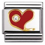 Nomination Charm Composable Classic Special Red Heart with Cubic Steel
