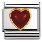Nomination Charm Composable Classic Stones Hearts Red Agate Steel