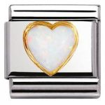 Nomination Charm Composable Classic Stones Hearts White Opal Steel