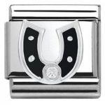 Nomination Charm Composable Classic Symbols Black Horseshoe Steel