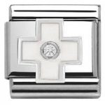 Nomination Charm Composable Classic Symbols White Cross Steel