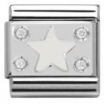 Nomination Charm Composable Classic Symbols White Plate with Star Steel