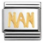 Nomination Charm Composable Classic Writing Nan Steel
