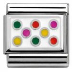 Nomination Charm Composable Hearts and Geometric Link Mixed Dots White Background Steel