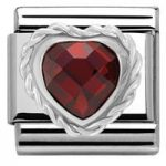 Nomination Charm Composable Link Heart Stone Red Steel