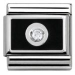 Nomination Charm Composable Link with Colored Plate Black on White Steel