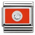 Nomination Charm Composable Link with Colored Plate White on Red Steel