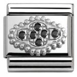 Nomination Charm Composable Link with Pave Flower Black Steel
