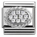 Nomination Charm Composable Link with Pave Oval White Steel