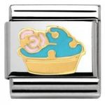 Nomination Charm Composable Madame & Monsieur Link Muffin with Flowers Steel