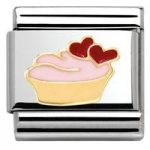 Nomination Charm Composable Madame & Monsieur Link Muffin with Hearts Steel